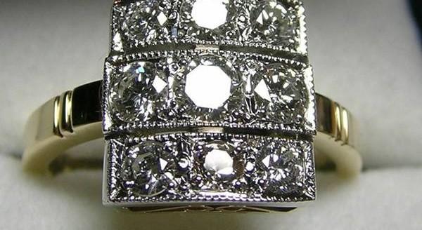 Diamond Art Deco style dress ring
