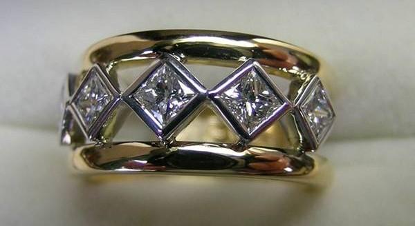 Princess cut bezel set diamond contemporary style ring