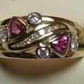 Diamond and pink sapphire dress ring