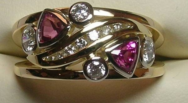 Diamond and pink sapphire dress ring