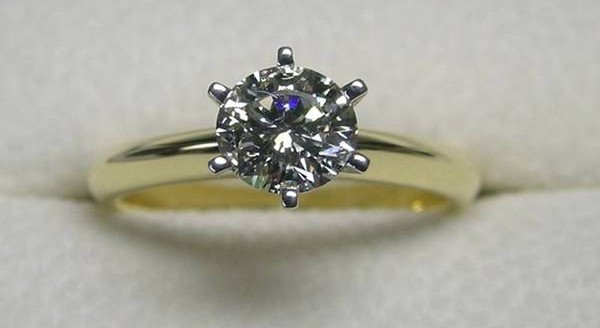 Solitaire round brilliant cut diamond engagement ring
