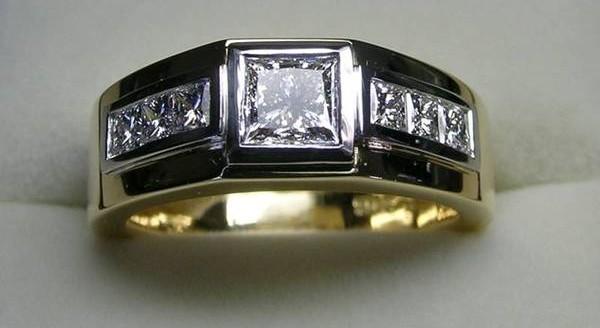 Princess cut diamond gents dress ring