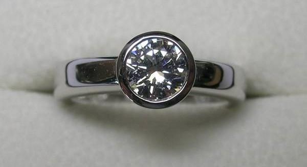 Solitaire bezel set round brilliant cut diamond engagement ring