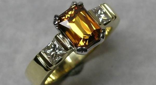 Golden sapphire and diamond dress ring