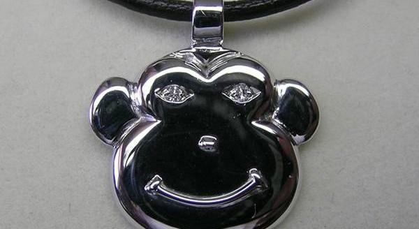 Diamond Monkey face pendant
