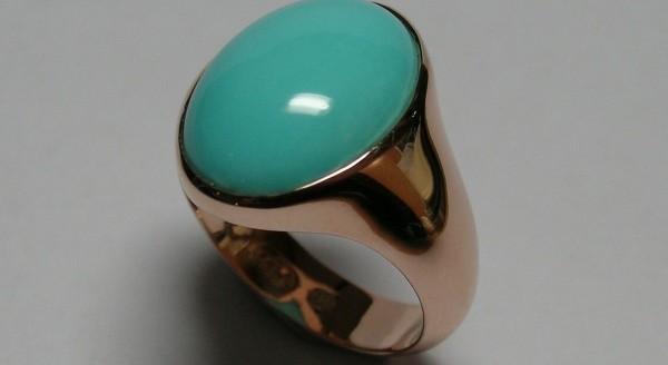 Rose gold turquoise ladies dress ring