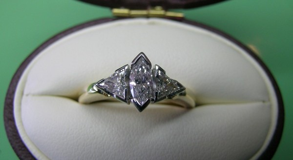 Marquise and trilliant diamond engagement ring
