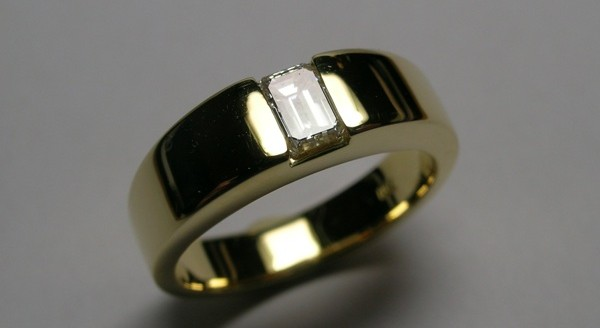 Emerald cut diamond ladies dress ring