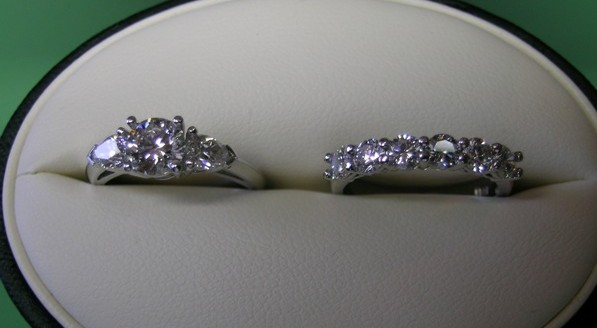Platinum diamond engagement and wedding ring set