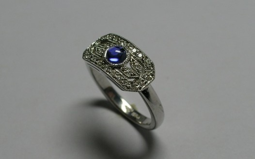 Sapphire and diamond Art Deco dress ring