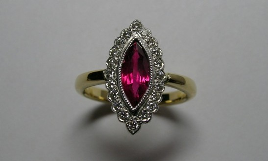 Marquise ruby and diamond antique style dress ring
