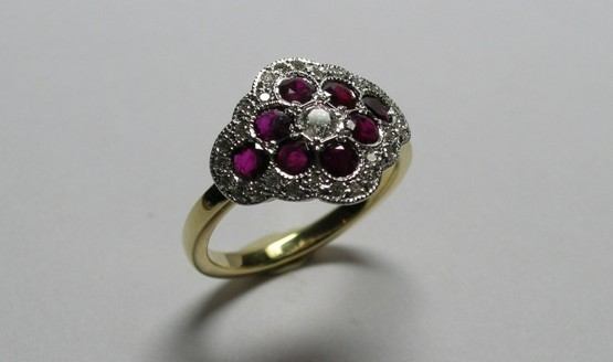 Ruby and diamond antique style dress ring