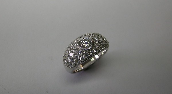 Contemporary style brilliant cut diamond ladies occasion ring