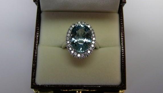 Aquamarine and diamond ladies dress ring