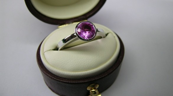 Pink sapphire dress ring