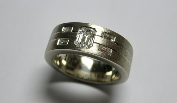 Emerald cut diamond gents wedding ring
