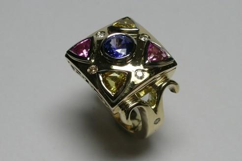 Coloured sapphire and diamond ladies dress ring
