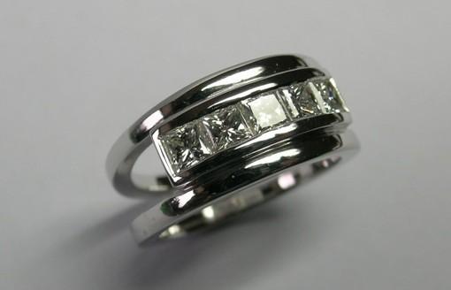 Five princess cut diamond ladies ring