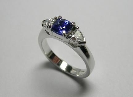 Ceylon sapphire and heart shape diamond engagement ring