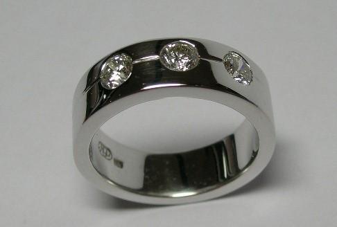 Three brilliant cut diamond gents dress ring