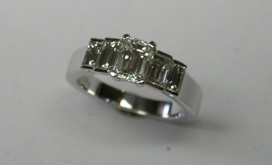 Dazzling five diamond engagement ring