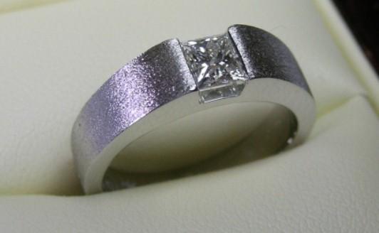 Solitaire princess cut diamond engagement ring