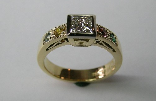 Solitaire princess cut diamond and birthstone dress ring