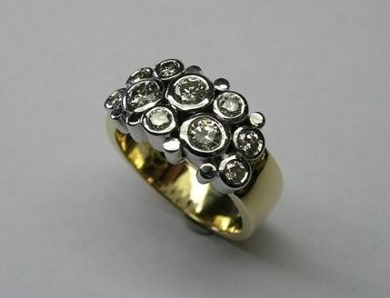 Stunning contemporary design brilliant cut diamond ladies dress ring