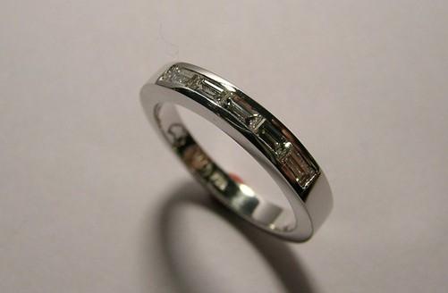 Five baguette diamond ladies wedding ring