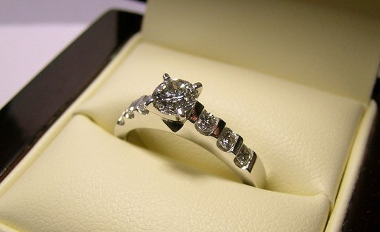 Solitaire brilliant cut diamond engagement ring