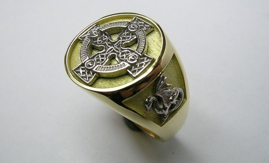 Celtic cross and dragons gents dress ring