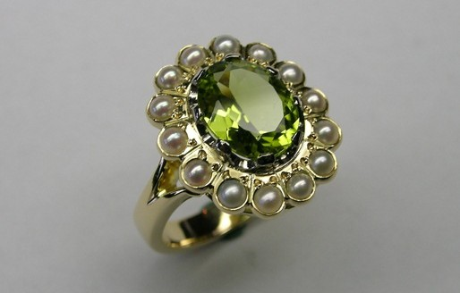 Peridot and seed pearl ladies cluster dress ring