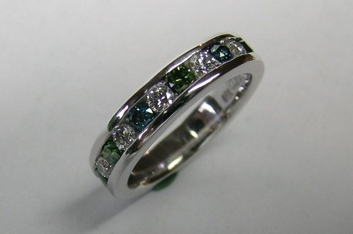 Channel set green blue and white diamond ladies ring
