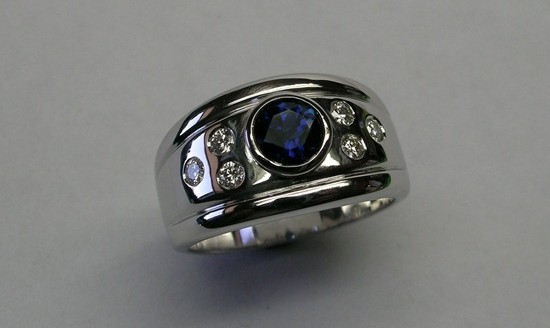 Contemporary style Australian sapphire and diamond ring