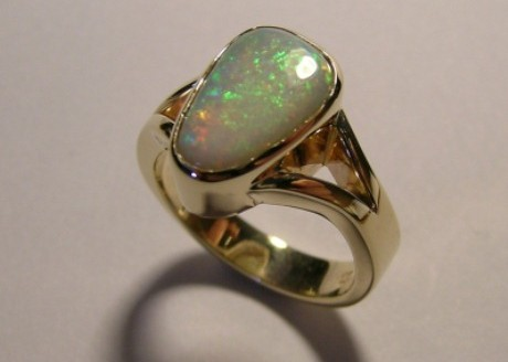Glamorous solid opal ladies dress ring