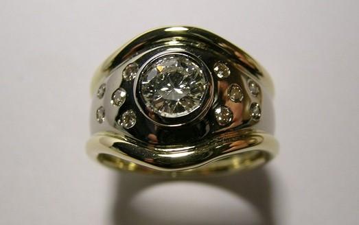 Contemporary style two tone brilliant cut diamond dress ring