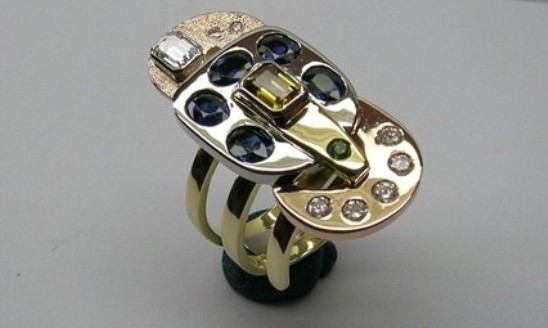 Magnificent contemporary style multi coloured gemstone dress ring