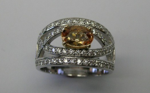 Imperial topaz and diamond contemporary style cocktail ring