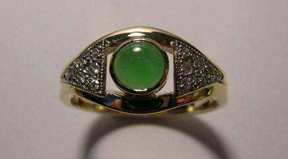 New Zealand greenstone and diamond ladies dress ring