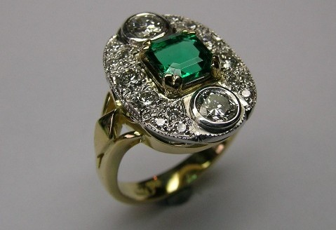 Charming vintage style square emerald and diamond ladies dress ring