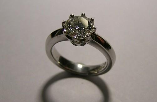 Platinum solitaire round brilliant cut diamond engagement ring