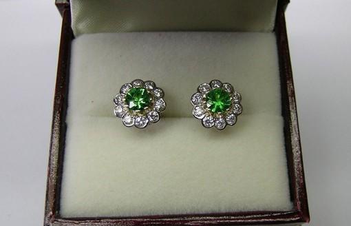 Tsavorite garnet and diamond ladies earrings