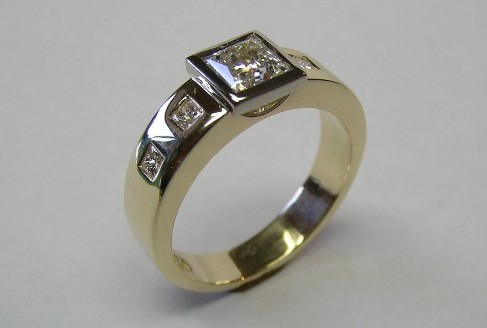 Five princess cut diamond ladies dress ring