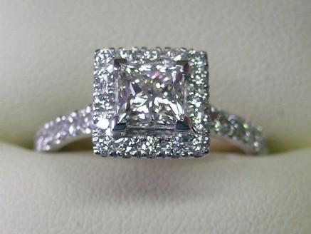 Platinum princess cut diamond halo design engagement ring