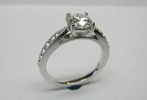 Solitaire brilliant cut diamond engagement ring