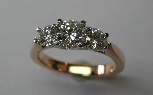 Three brilliant cut diamond engagement ring