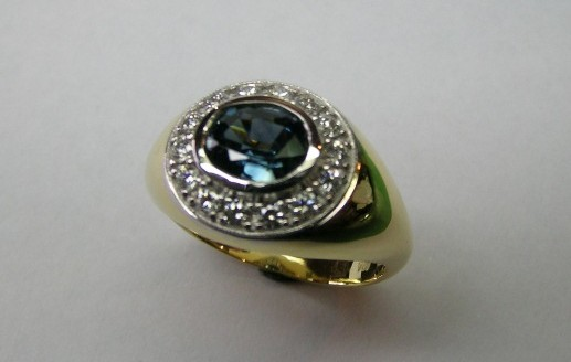 Australian parti coloured sapphire and diamond dress ring