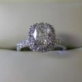 Cushion cut diamond  halo design engagement ring