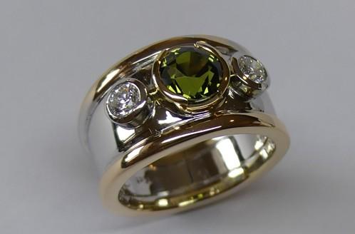 Contemporary style Australian green sapphire and diamond dress ring