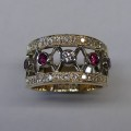 Contemporary design ruby and diamond occasion ring